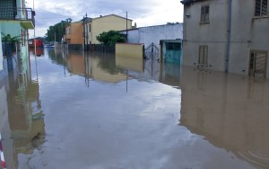Flooded street is pictured in San Gavino Monreale on Sardina island