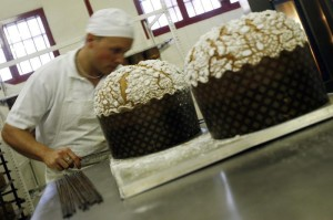 Inmate working as a baker produces traditional panettone Christmas cakes at a jail in Padova