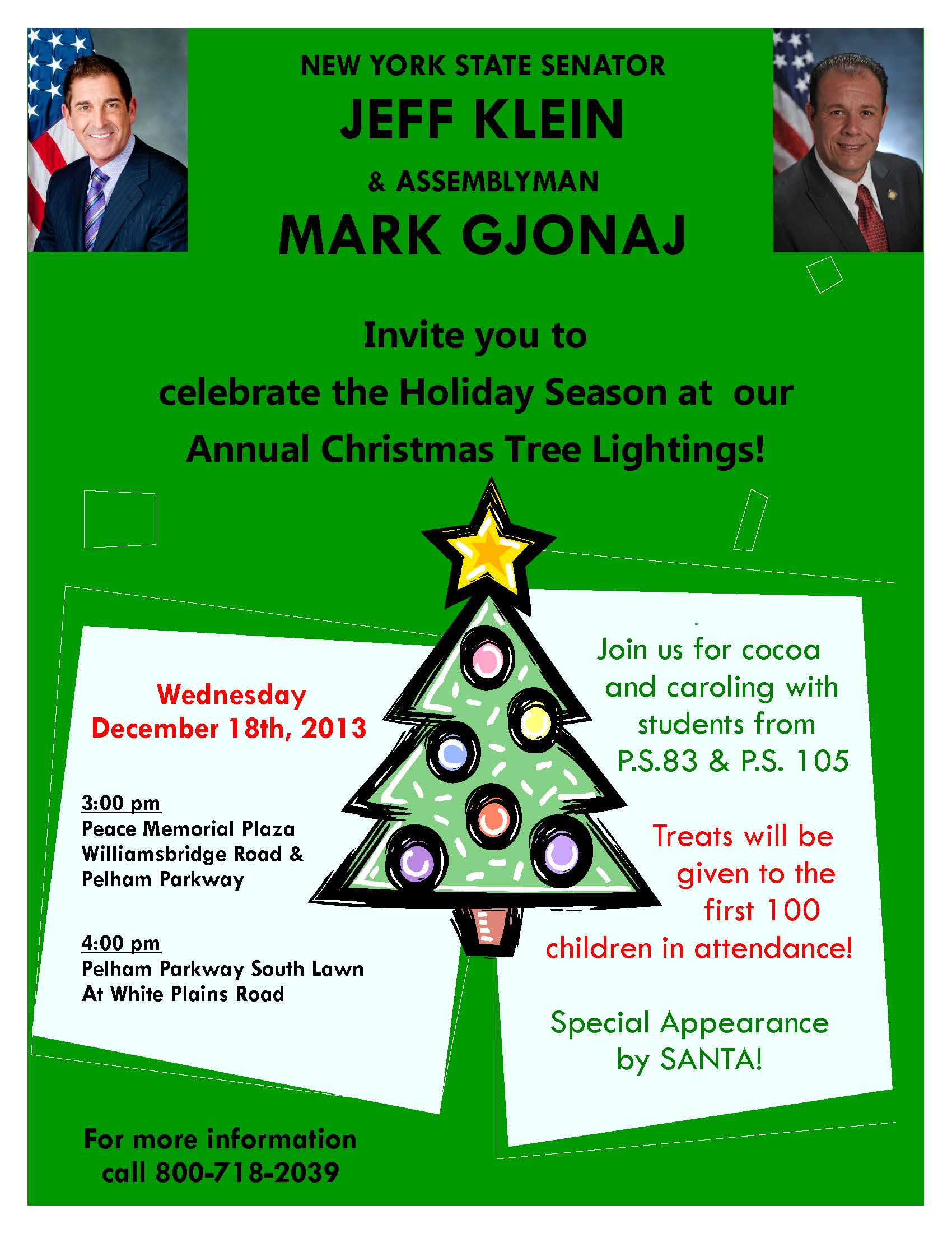 State Senator Jeff Klein & Assemblyman Mark Gjonaj Annual Christmas Tree Lightings