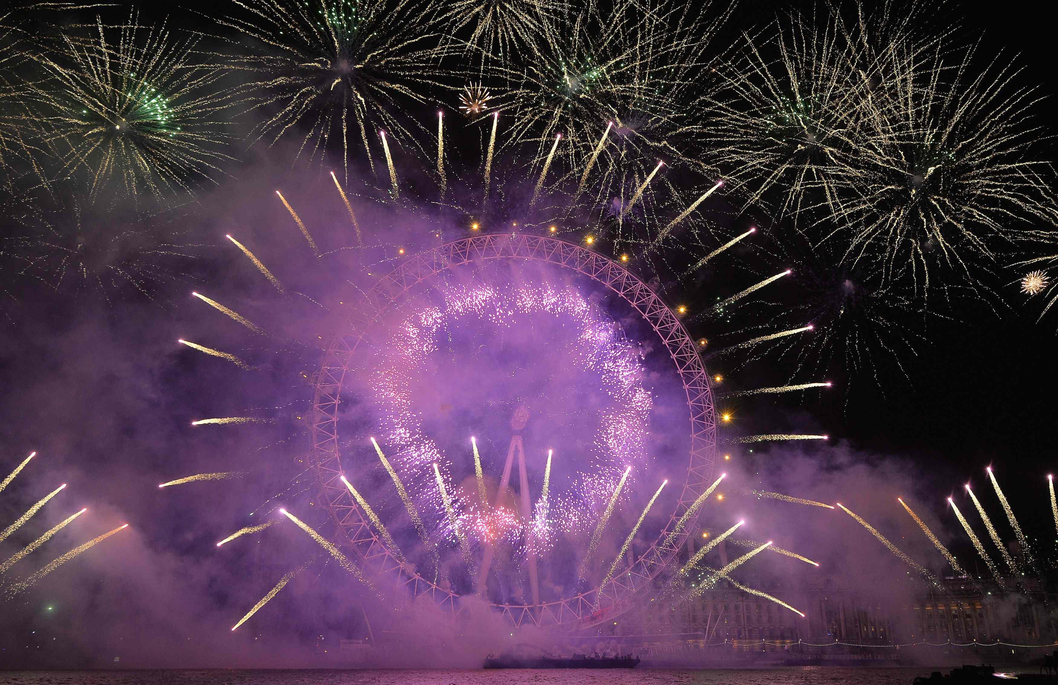 Fireworks explode in central London