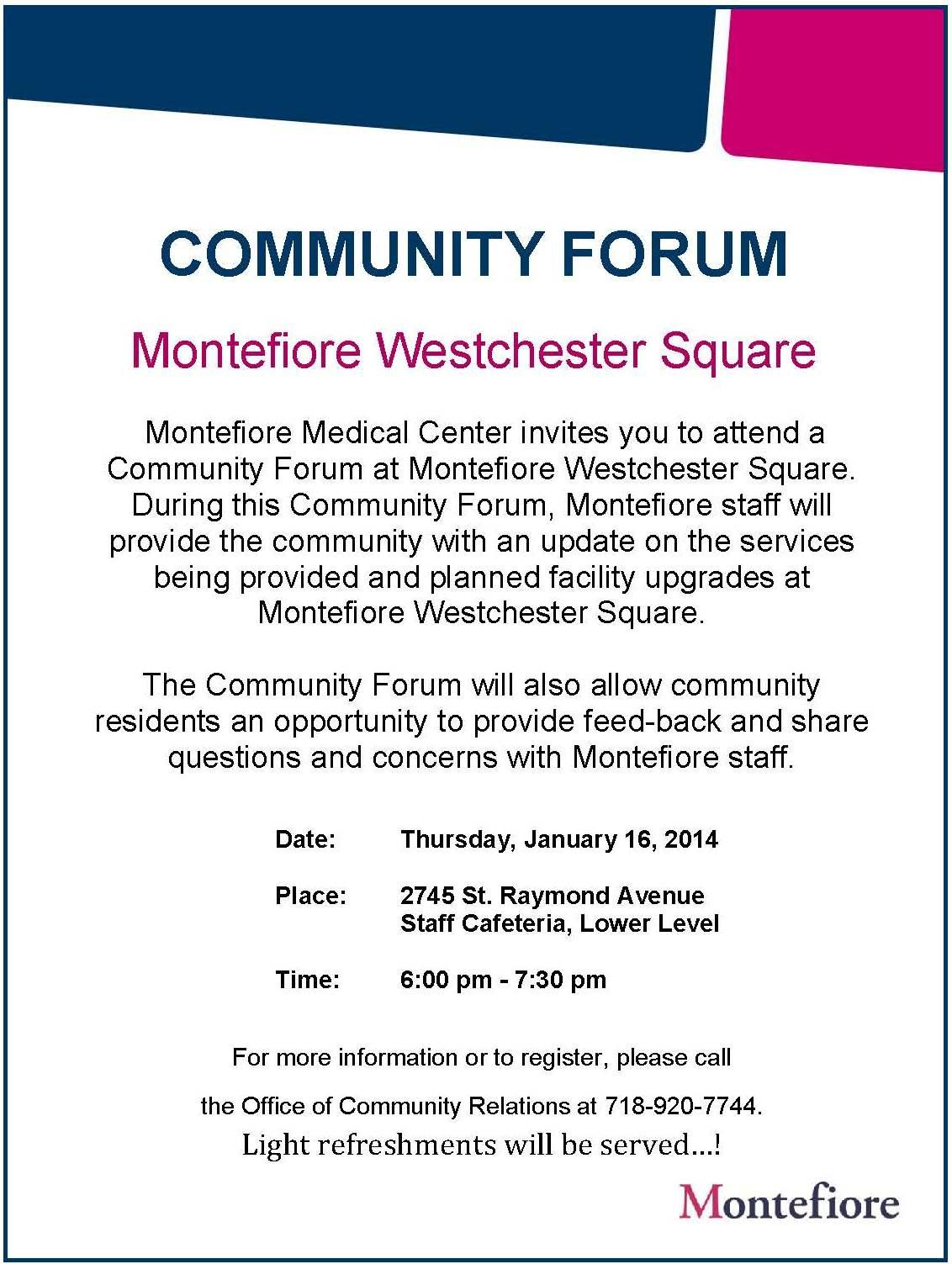 Focus St Forum >> Montefiore Westchester Square Community Forum - The Bronx ...