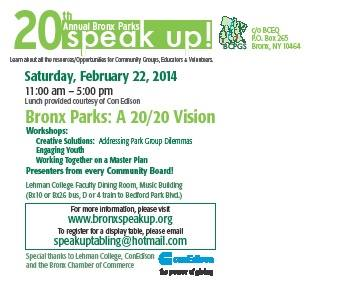 Bronx Parks Speak Up – Tomorrow – Saturday, February 22, 2014