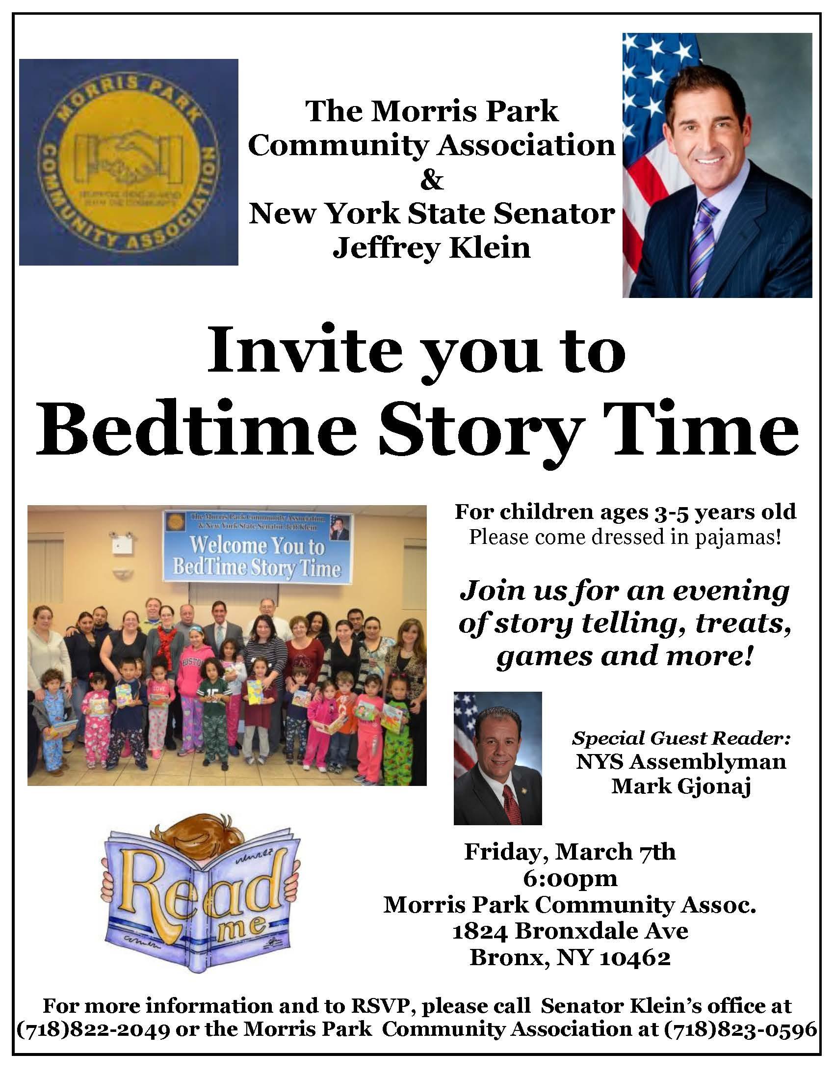 Bedtime Story Time – Friday, March 7th with reader Assemblyman Mark Gjonaj
