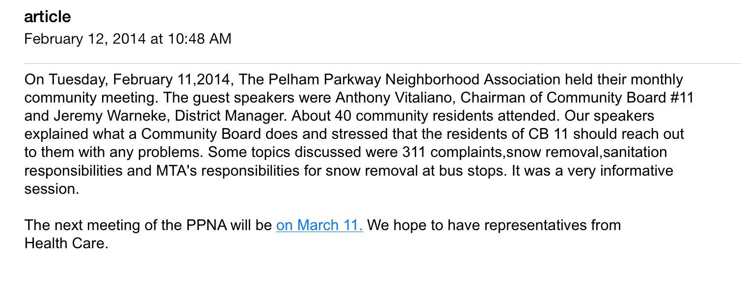 Pelham Parkway Neighborhoood Assn Meets Tuesday Night