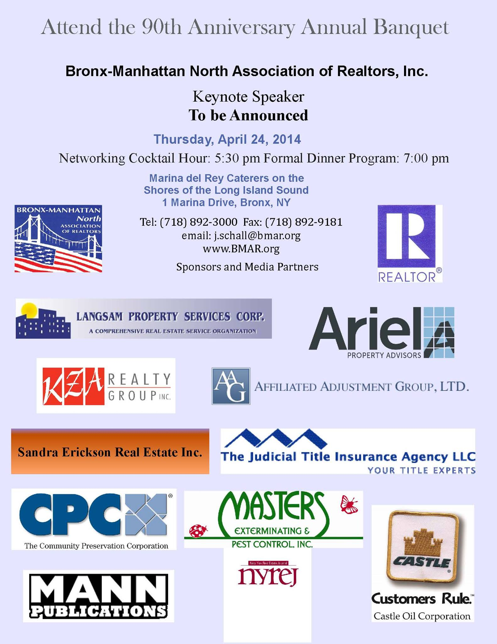 90th Annual Bronx-Manhattan North Association of Realtors Banquet Info