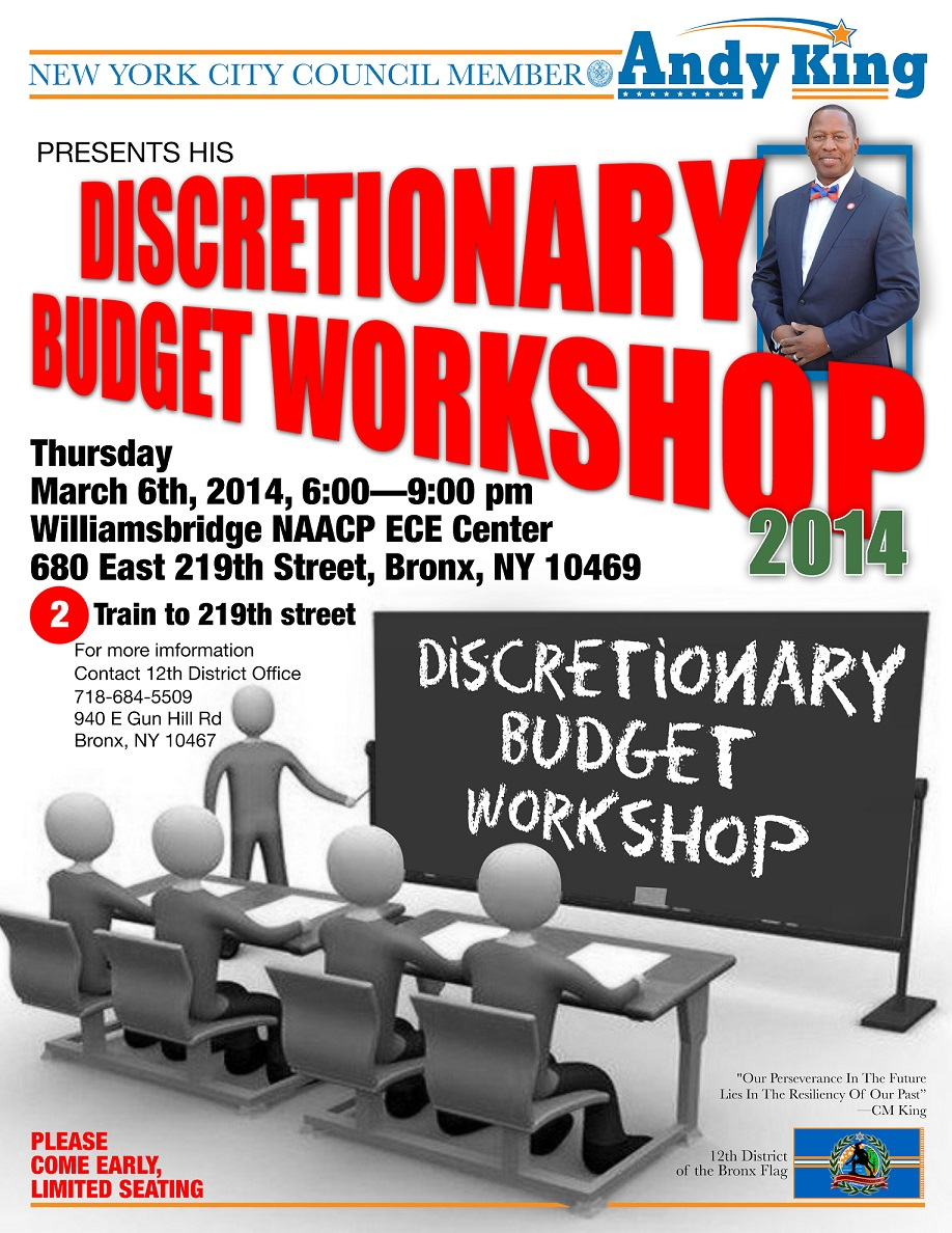 Councilman Andy King To Host Budget Discretionary Workshop