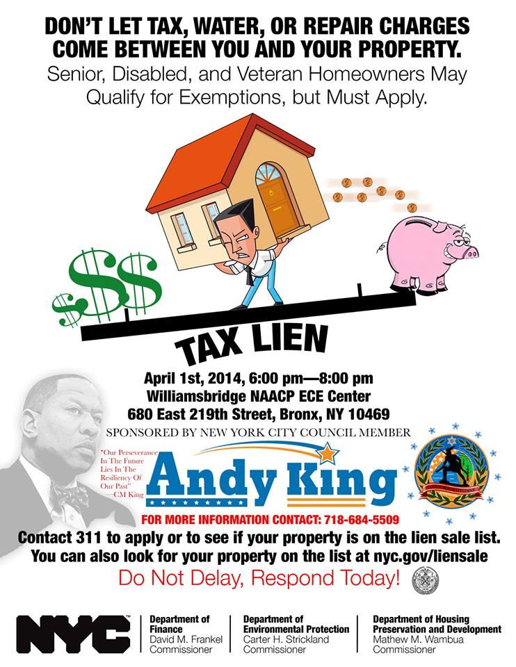 Andy King Sponsors Tax Lein Workshop At Williamsbridge NAACP Center Next Tuesday