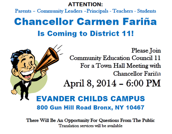Schools Chancellor Fariña Coming To Evander Childs Next Week