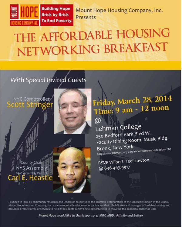 Affordable Housing Networking Breakfast Friday At Lehman College