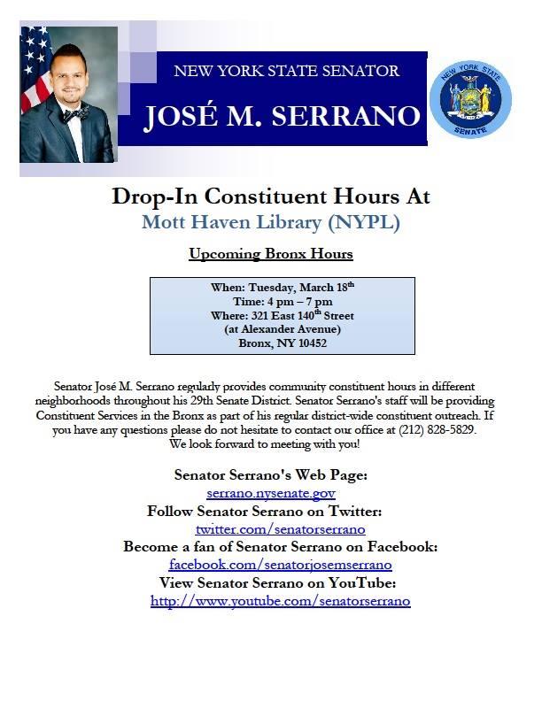 Senator Serrano's Mott Haven Drop In Hours Today
