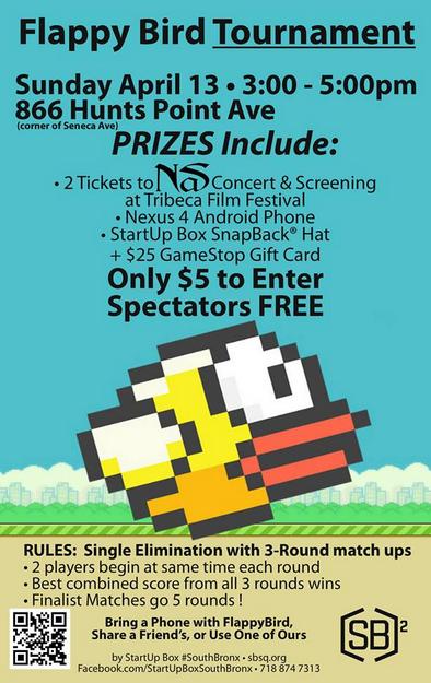 Flappy Bird Tournament In Hunts Point Sunday