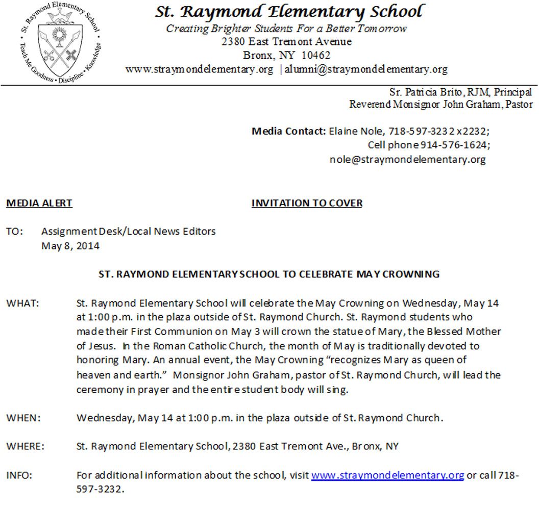 St. Raymond Elementary May Crowning on May 14th