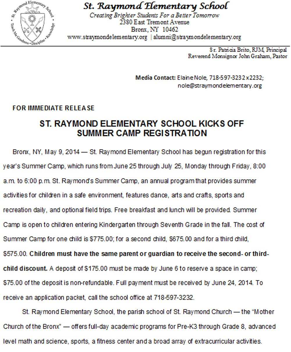 Summer Camp Registration Open for St. Raymond Elementary
