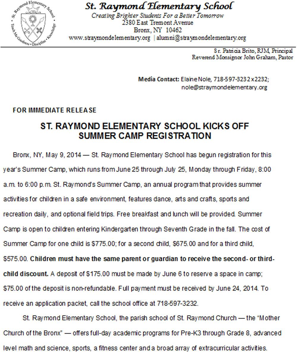 Summer Camp Registration Open for St. Raymond Elementary