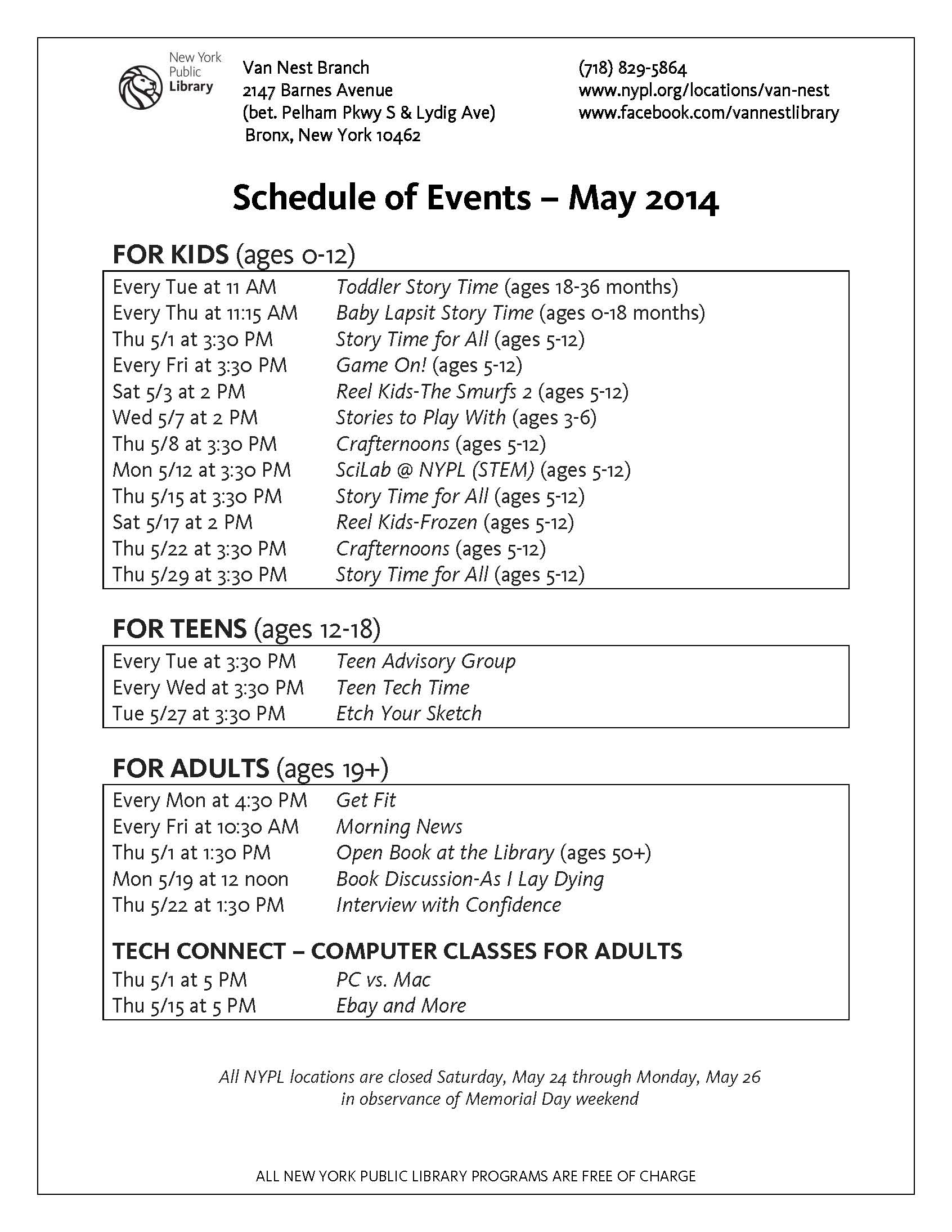 Van Nest Library Events – May 2014
