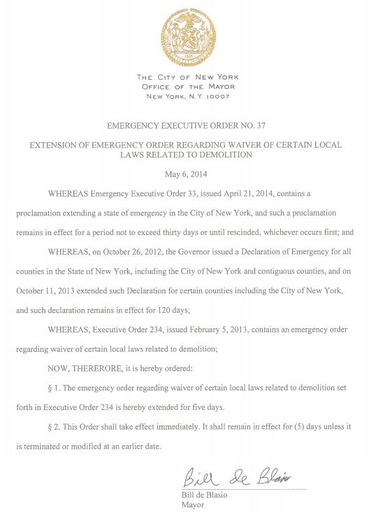 Mayor Signs Executive Order Regarding Demolition