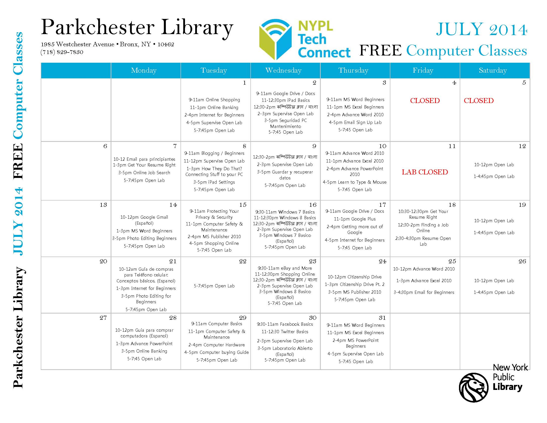 Parkchester Library Events