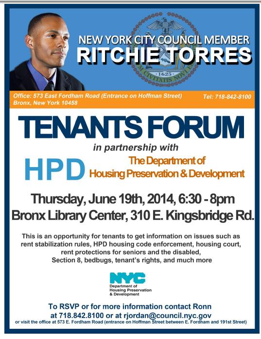 Tenants Forum Tonight At Bronx Library Center