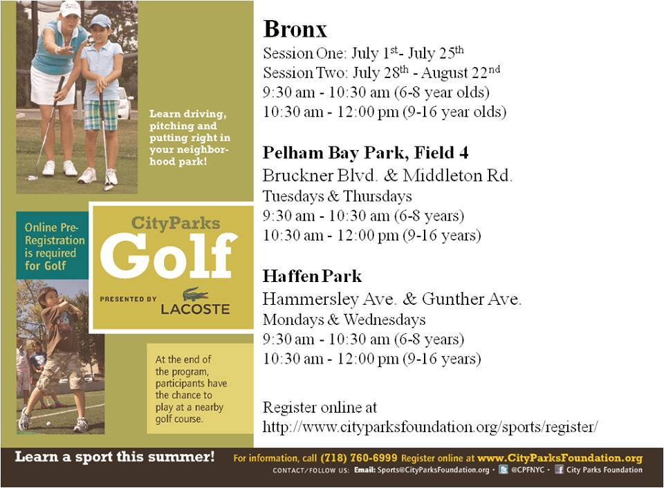 CityParks's Golf For Kids In Pelham Bay And Baychester (1st Session Starts TOMORROW)