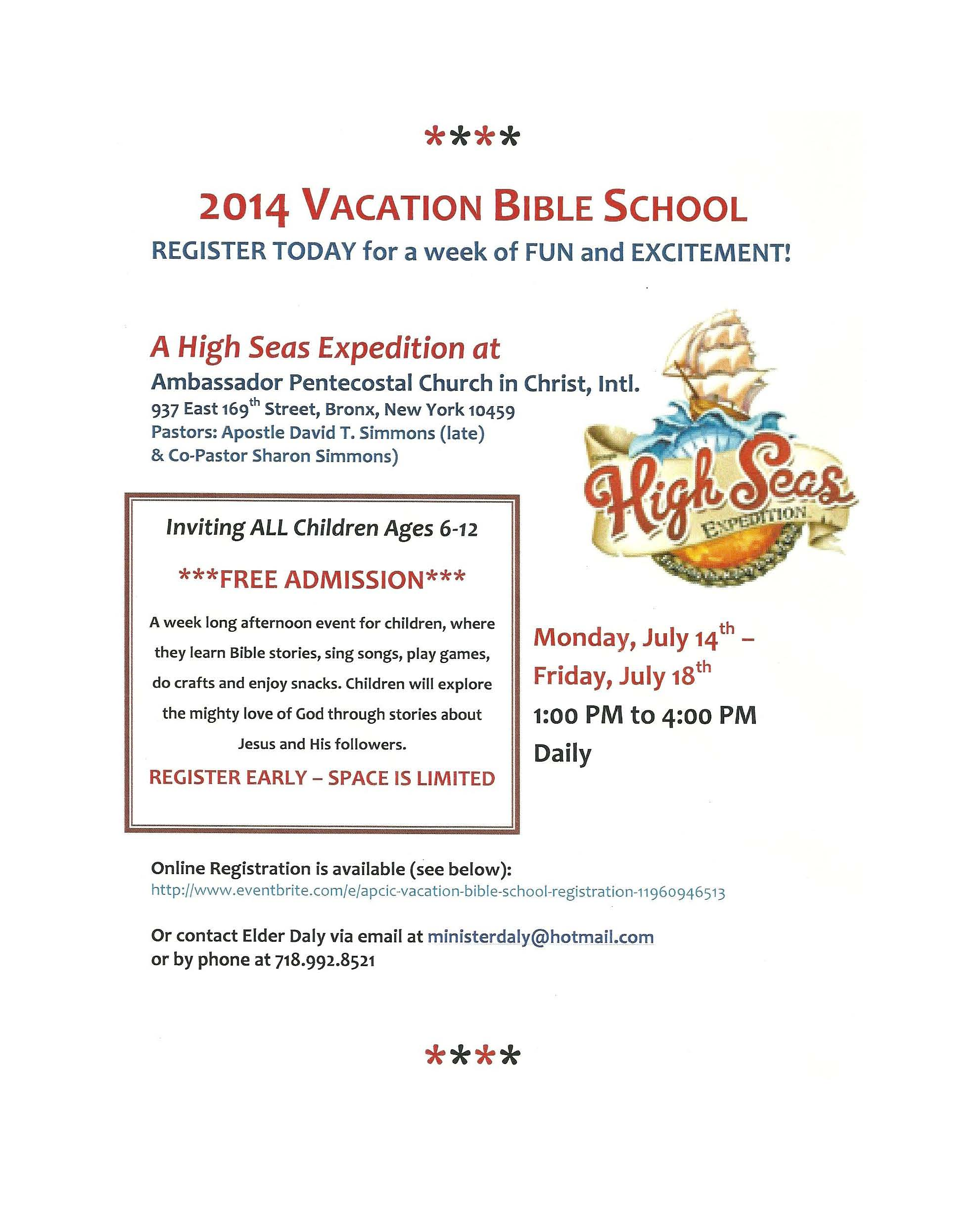 Vacation Bible School Starting Soon