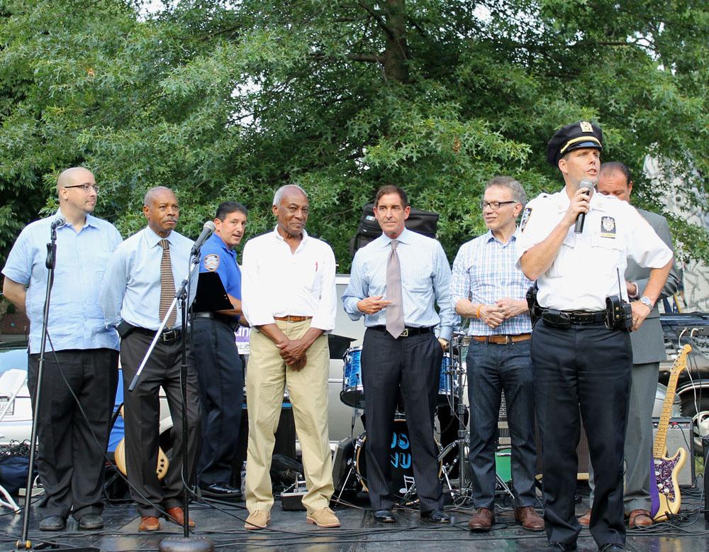 Left to right: Senator Gustavo Rivera, Bronx District Attorney Robery Johnson, Board President of 49th Commnity Council Joe Thompson, Senator Jeff Klein, Councilman James Vacca, and 49th Precinct Captain Timothy McCormack