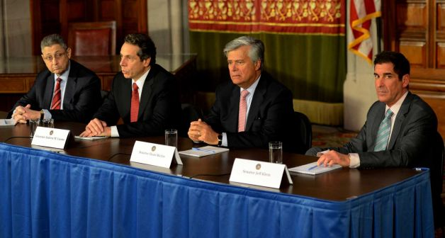 The leaders of their respective houses joined Governor Andrew Cuomo in a Leaders Meeting Jan. 30, 2013, in the Red Room of the State Capitol in Albany, N.Y. From left to right; Shelly Silver, Speaker of the Assembly; Governor Cuomo; Dean Skelos, Republican Conference Leader and Jeffrey Klein, Independent Democratic Conference Leader. (Skip Dickstein/Times Union)