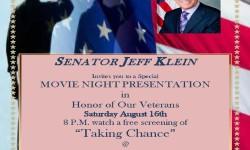 Veteran's Movie Night–This Saturday at Veteran's Park