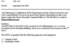 FDNY Activity Report – 1111 Rhinelander Avenue