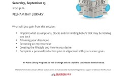Free NY Public Library program at the Pelham Bay branch Sept 13, 2014
