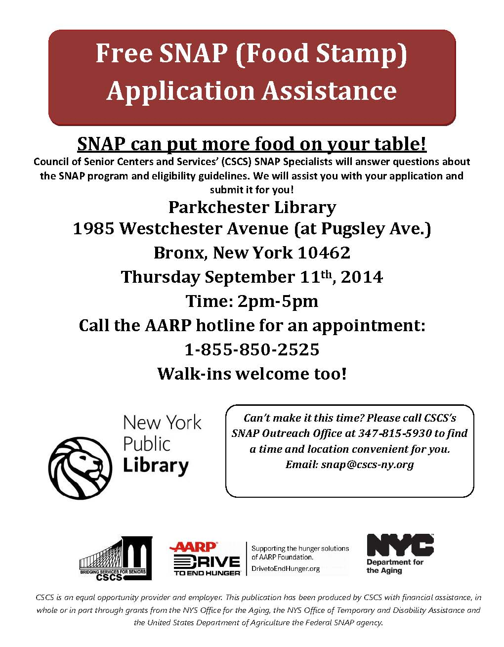 CSCS_AARP_SNAP_Application_Assistance_Parkchester_Library_September_11,_2014_English_&_Spanish_(1)_Page_1