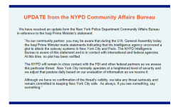 Update from the NYPD Community Affairs Bureau