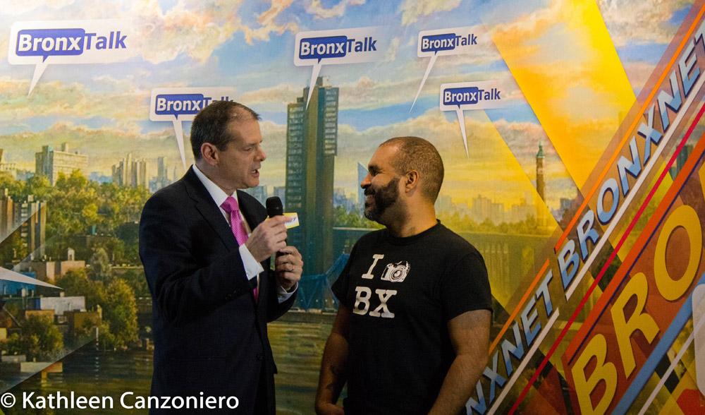Gary Axelbank speaking to Welcome2TheBronx creator, Ed García Conde.