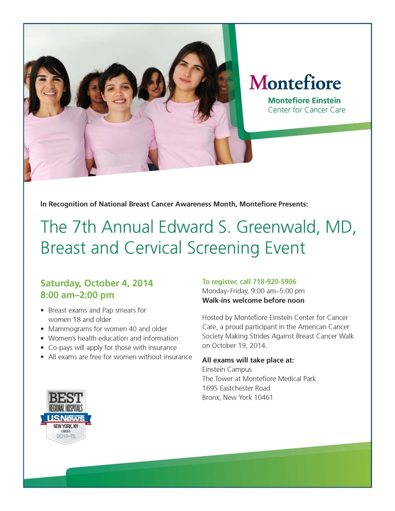 Breast Cancer Screening Event - this Saturday - The Bronx