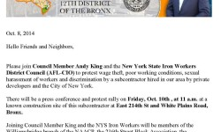 Please Join Council Member Andy King on Friday to Call Attention to Unfair Labor Practices in our Area