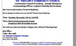 The 49th Pct. Council Meeting on Tuesday, November 25th 7:30PM at Morris Park Community Center