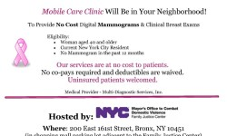 Upcoming No-Cost Breast Cancer Screening Event: 11/6/2014 at Bronx Family Justice Center