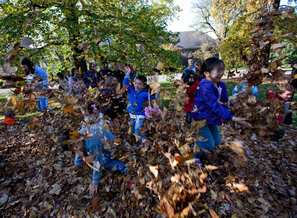 Family Art Project Dances with Leaves