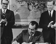 President Richard Nixon signing the Clean Air Act of 1970.