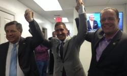 Judge John Barone. Senator Jeffrey Klein and Assemblyman Mark Gjonaj celebrating their victories
