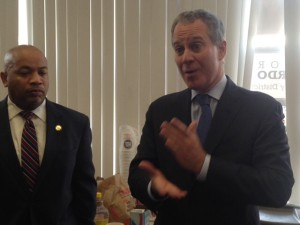 Attorney General Eric Schneiderman making a stop at Bronx Democratic County Committee offices early Election Day.