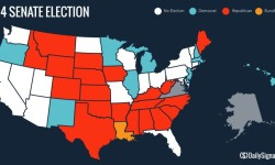 Map showing states that went Blue or Red in Senate races on Election Day
