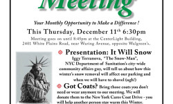 """Coats for the Needy! At This Thursday's B-PECA Community Meeting. Thursday Dec. 11th from 6:30-8:45pm inside """"CenterLight"""" at 2401 White Plains Road."""