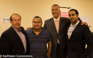 Devil Dogs USA CEO Gonzalo Duran with Bronx Chronicle CEO Sal Conforto, Host Stevan Lynn & Chronicle Managing Editor Omesh Persaud at The Dem. Primary Public Forum for Assembly District 78
