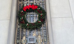 Wreath on Borough Hall Happy Holidays
