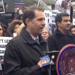Councilman Mark Levine speaking at press conference. He stated that the phasing out of horse drawn carriages will not keep tourists away. They come to see our museums, theaters, historic areas, to eat at our great restauarnts, etc. Nobody comes just to ride in a horse drawn carriage.