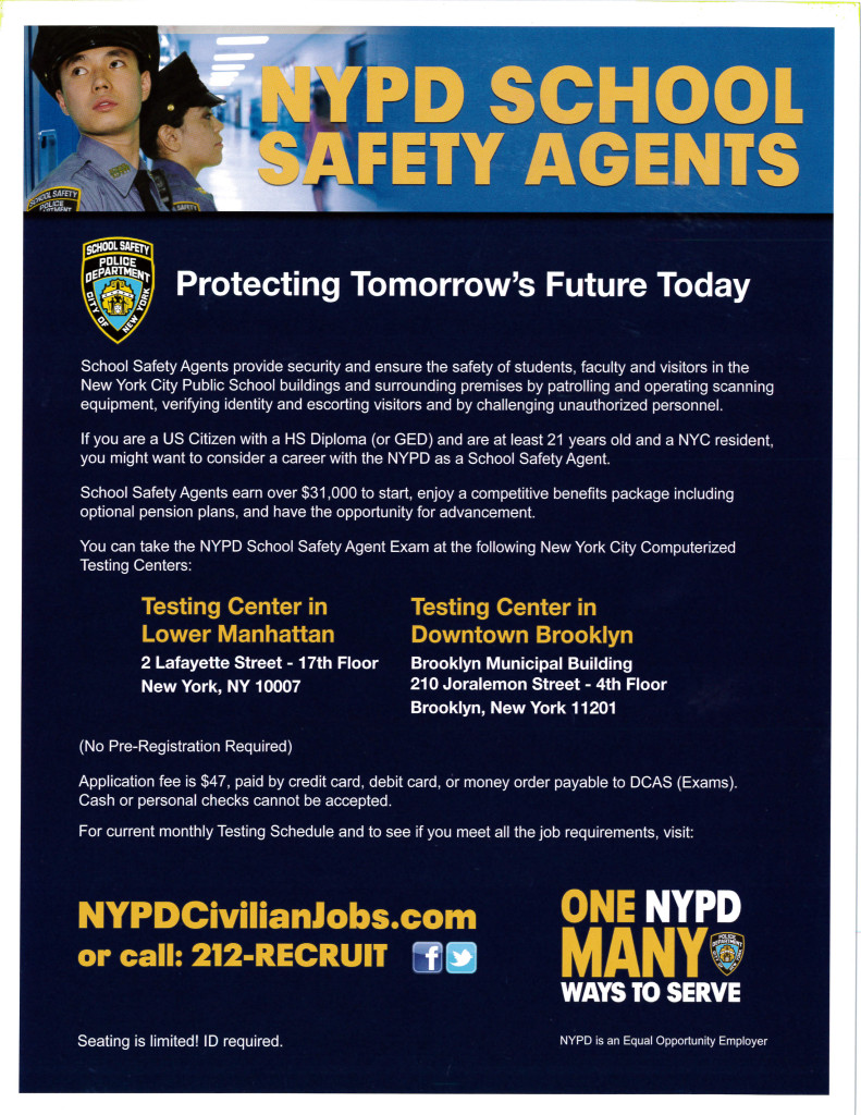 Job Opportunity – NYPD School Safety Agents