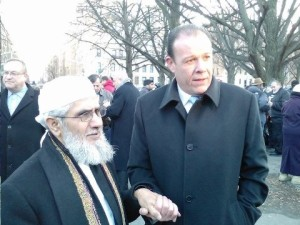 Imam Hamid Alsilwi of the Bronx Muslim Cente and Assemblyman Gjonaj