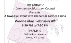 NYC DOE: District 7 Community Education Council Presents: A Town Hall Event with Chancellor Carmen Fariña