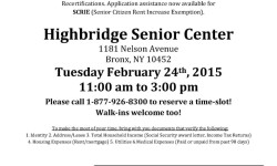FREE SNAP (food stamp) Application Assistance for Seniors, HIGHBRIDGE Senior Center, Feb. 24th, 11 to 3