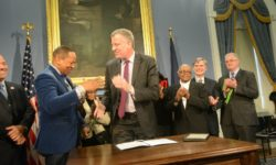 MAYOR DE BLASIO SIGNS INTO LAW BILL REQUIRING PARKS DEPT. TO DEVELOP FORMAL PROCESS FOR THE REMOVAL OF TREES
